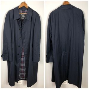 Burberry Trench Coat Navy Blue Plaid Lining